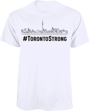 Entripy created white custom t-shirts of TorontoStrong t-shirts for the community.