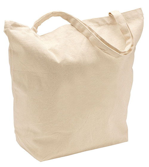 Cotton custom tote bag for storing larger items.