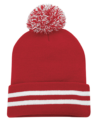 Red custom pom pom toque ideal to embroider for corporate gifts.