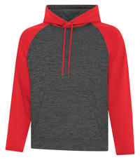 This custom two tone hooded sweatshirt is 100% polyester being super soft, durable and features coloured raglan sleeves for added style.
