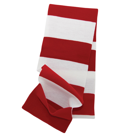 Custom Red and white scarf for keeping warm while standing around at an outdoor event or in an ice rink. This keeps your hands warm and cozy.