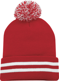 Customize this pom pom with your logo and have some fun this winter featuring a striped cuff and fun pom pom.