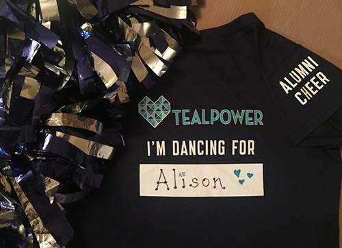 Custom t-shirt printed to raise money for cervical cancer where Argos cheerleaders represent a name their dancing for.