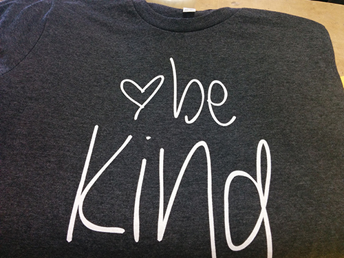 Be Kind custom t-shirt of Entripy's customer selling their t-shirt line.