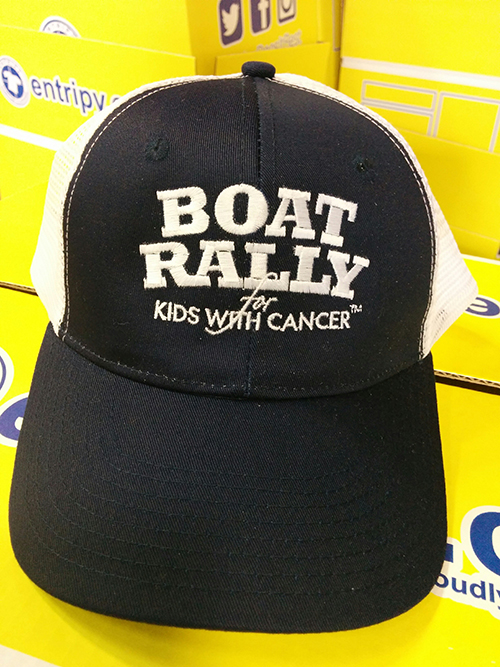Custom embroidered cap for participants at the rally for kids.