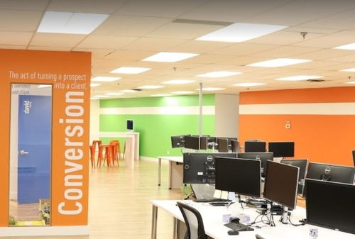 Bright vibrant colours used at workplace to influence creativity & productivity