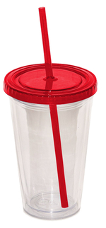 Custom Double Walled Red Tumbler keeps your drink cold and your hands dry.