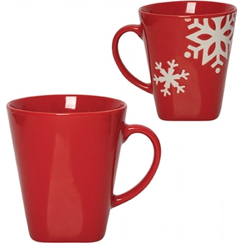 Custom snowflake red mug which makes for a useful gift with a festive feel.