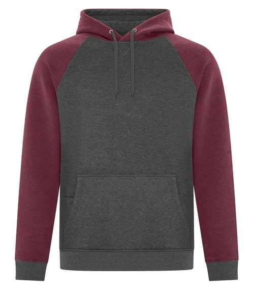Custom two tone hooded sweatshirt with raglan sleeve design, device pocket and front pouch pocket.