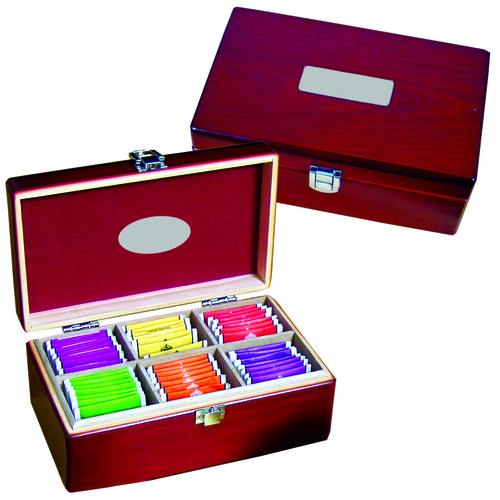 Custom mahogany pinewood box tea set which includes 72 Twinings tea bags.