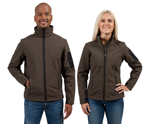 Eddie Bauer brown custom jackets in soft shells worn by a male and female.