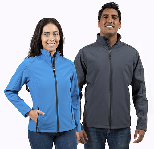 Soft shell custom jacket worn by male and female in the colour blue and grey.
