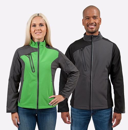 Male and female wearing colour block soft shell custom jackets in green and grey.