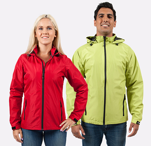 Mesh lining Coal Harbour custom jackets in red and lime green worn by a male and a female.