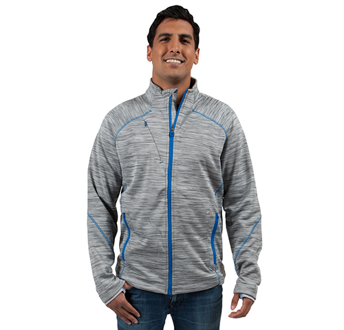 Heather colour lightweight zip up custom jacket with a thumbhole for added comfort.