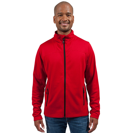 North End's fleece custom jacket worn by a model in the colour red.