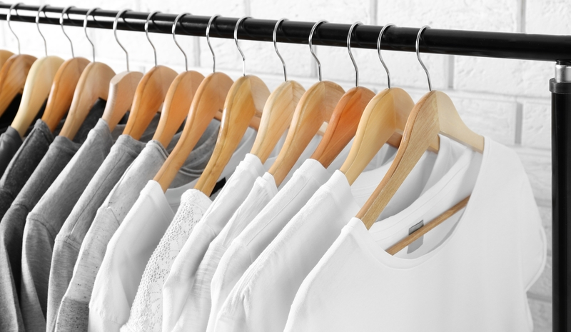 Eco friendly wardrobe with white recycled tshirts