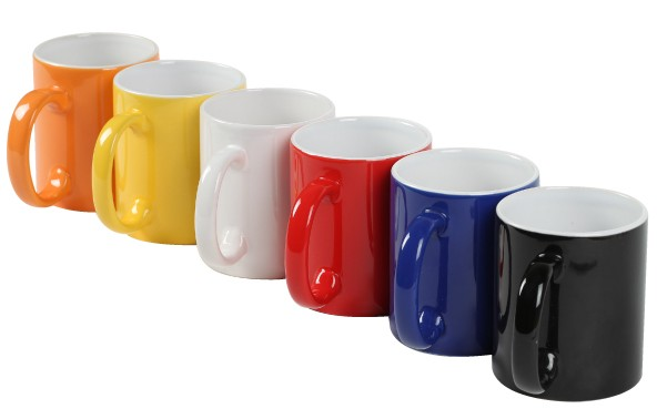 Vibrant colour choices for custom mugs as promotional products.