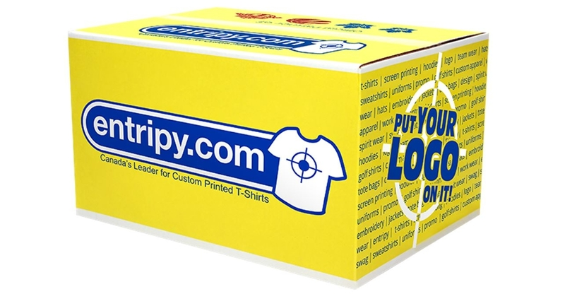 Entripy yellow shipping box which communicates for us without us having to do anything