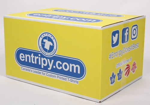 Entripy yellow box which is used for shipping with attention grabbing packaging conveying speed as one of the core values