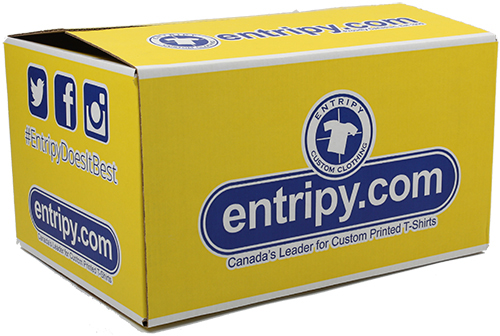 Entripy yellow box displayed at all events for custom t-shirt giveaway promotions.