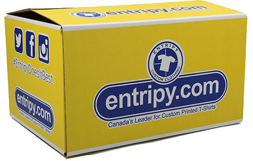 Entripy box with custom clothing orders shipped Canada-wide.