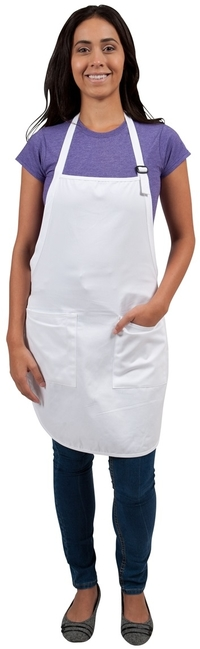 This custom full length apron is 100% cotton featuring a soil release finish for optimal stain protection, two patch pockets and a separate pen pocket for convenience.