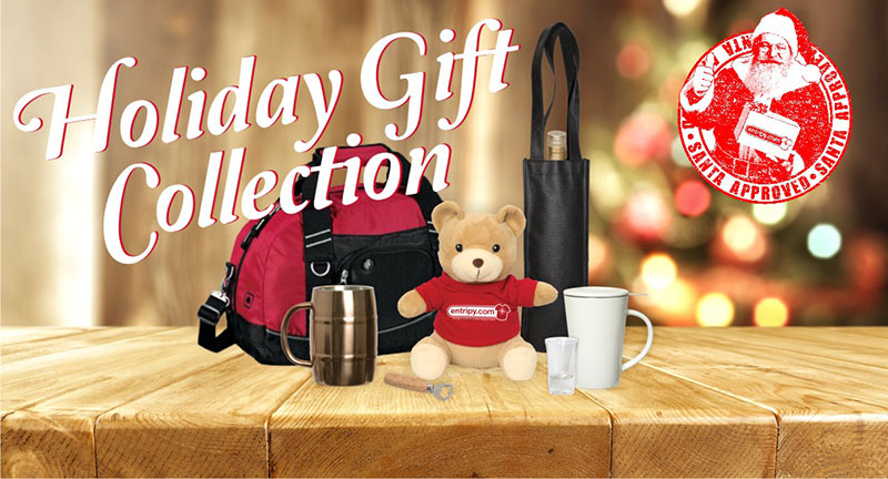 A collection of custom promo products for holiday gift collection.
