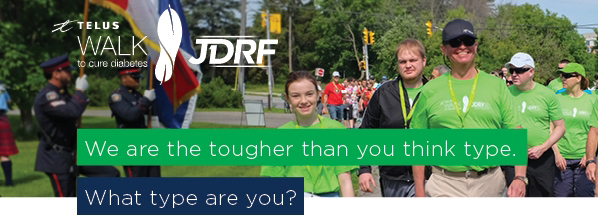 Non-profit organization, JDRF participants fundraising for a walk to cure diabetes with printed t-shirts.