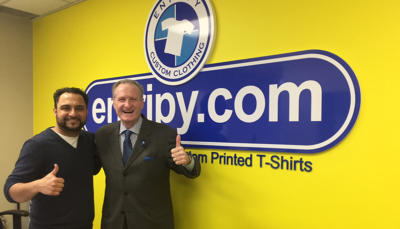 Jack Armstrong at Entripy discussing printing custom t-shirts with his famous sayings.