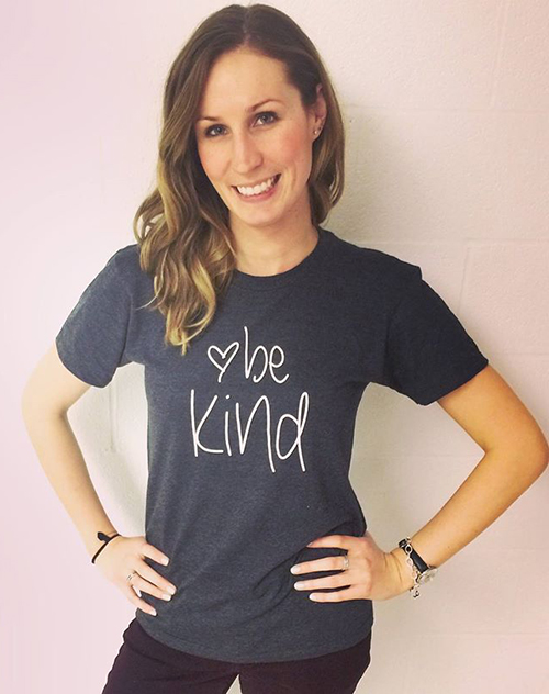 Be Kind custom t-shirt worn by Entripy client running her own custom clothing line.