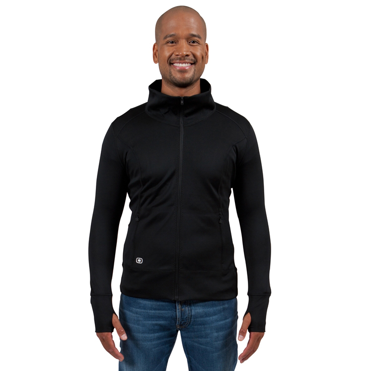 OGIO's full-zip custom jacket in the colour black with thumbholes for added comfort.