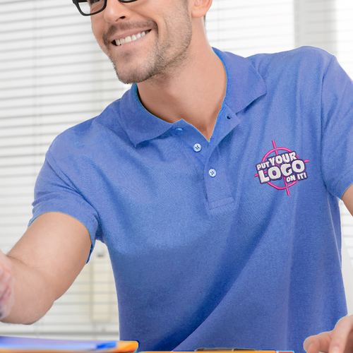 A person wearing a blue custom polo tshirt during business meeting