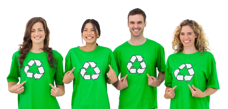 People wearing a green recycled tshirt.