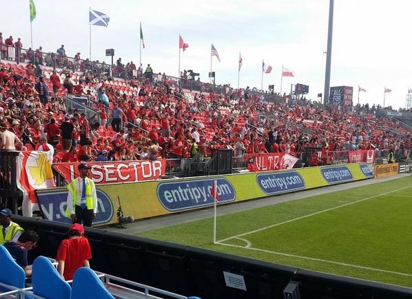 Entripy's digital signage at the TFC game. Entripy's the official custom promotional provider for MLSE.