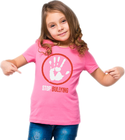 Pink custom t-shirts worn on youth to create awareness for bullying.