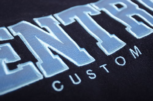 Entripy Custom Clothing logo displayed on a custom sweatshirt with twill decoration.