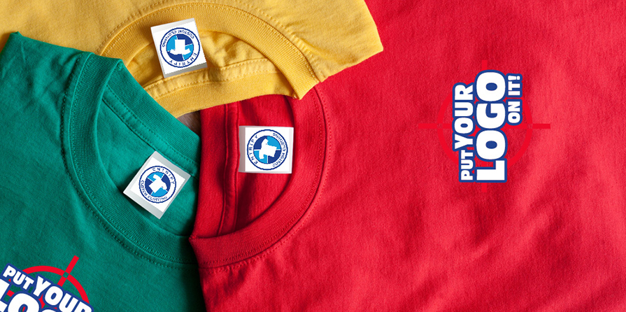 Colourful custom t-shirts with personalized labels and blank canvas for custom logo and design.