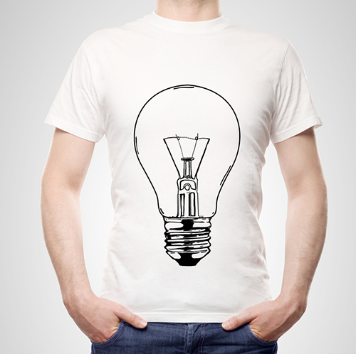 White custom t-shirt with a lightbulb screen-printed on it.