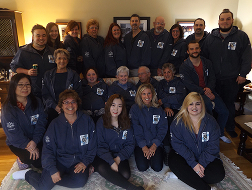 Family customized their zip-up sweatshirts for a birthday with Canada 150 logo on their sleeve.