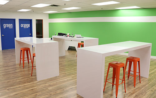 Entripy's new office incorporating colour theory for a healthy workplace.