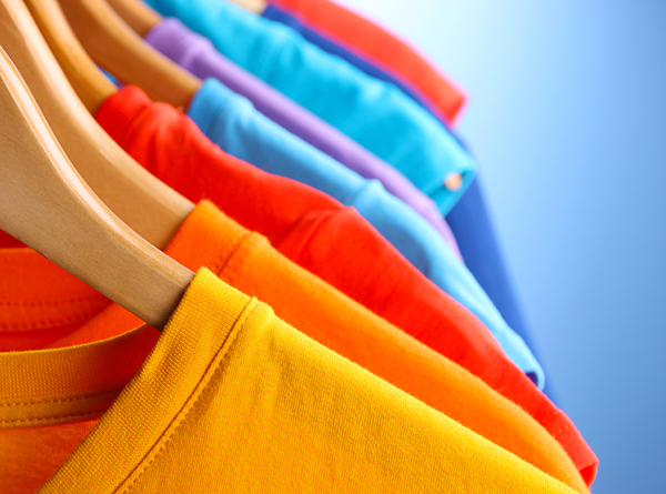 Bright coloured 100% cotton custom t-shirts printed with custom design or logo.