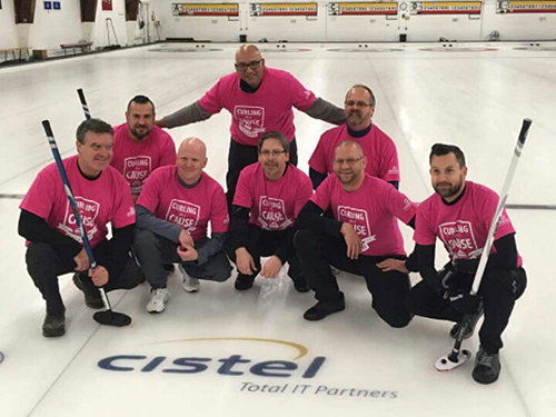 Participants in a Curling for a Cause event wearing pink custom printed t-shirts.