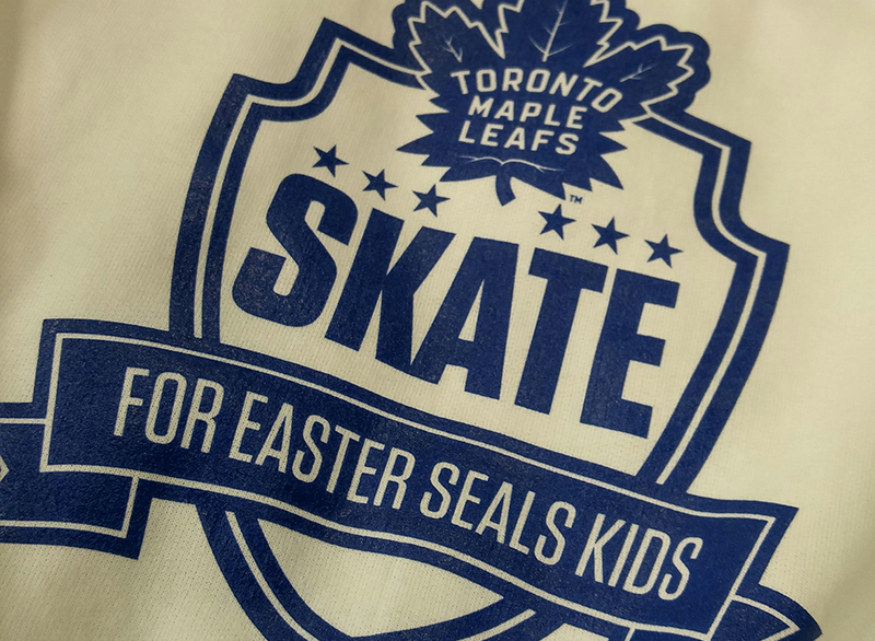 Custom t-shirt printed for Easter Seals Skate with the Toronto Maple Leafs team.