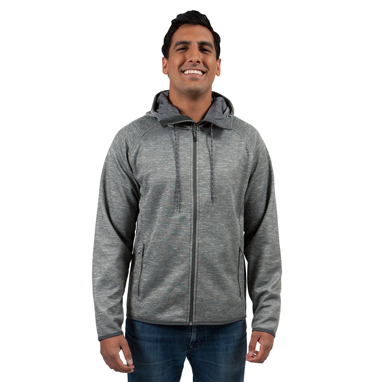 Hooded, full-zip custom jacket; model wearing heather grey colour with drawstrings.