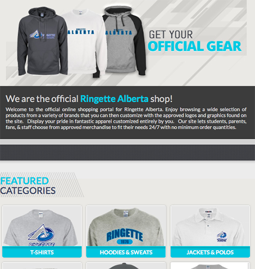 EntripyShops store created by Ringette Alberta for their custom apparel.