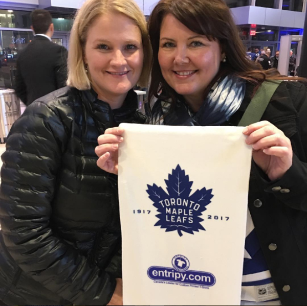Custom towels giveaways to maple leaf fans at the hockey game.