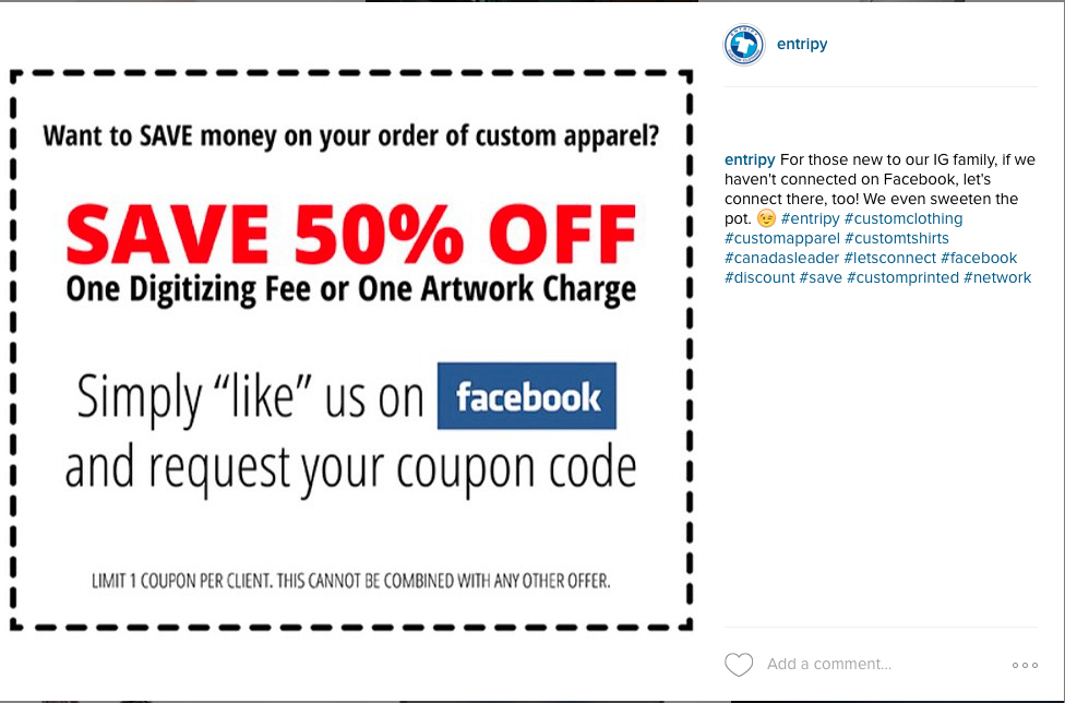 Promotional coupons advertised on social media for customers to use to promote customized promo products.