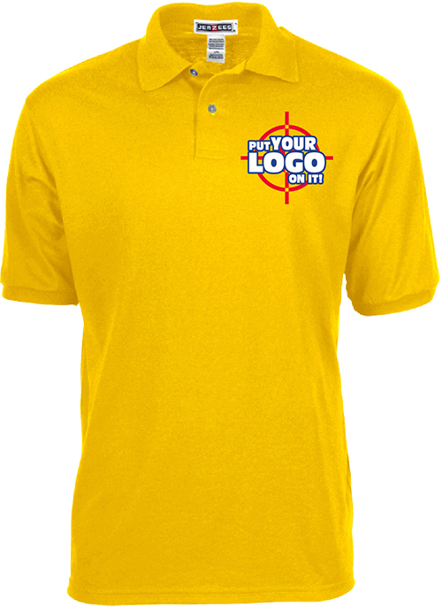 Top selling Jerzees brand offers a popular custom polo shirt for custom uniforms with their company logo or design.