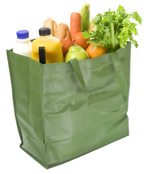 Groceries filled canvas tote bag customized for design or company logo.